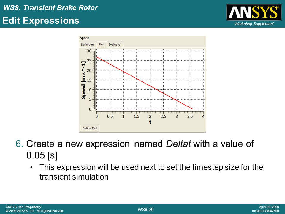 Create a new expression named Deltat with a value of 0.05 [s]